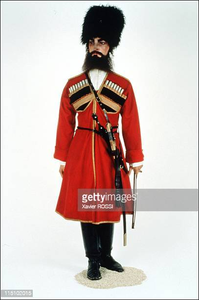 Tsar in Compiegne exhibition the 1901 visit of Tsar Nicholas II to France in Compiegne France on October 19 2001 Uniform worn by the Cossacks of...