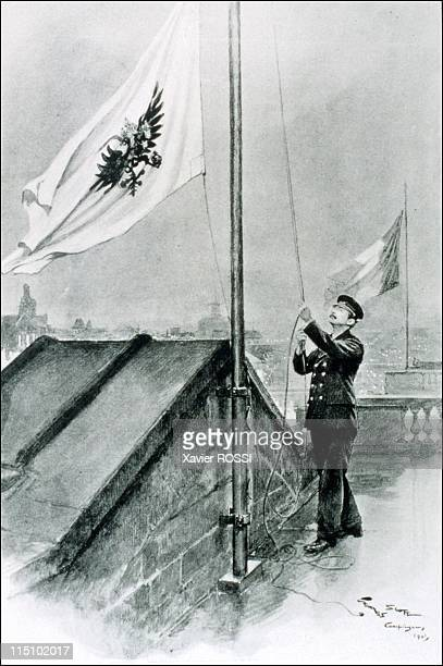Tsar in Compiegne exhibition the 1901 visit of Tsar Nicholas II to France in Compiegne France on October 19 2001 The imperial pavilion flown on the...