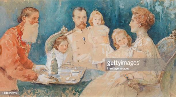 Tsar Nicholas II and Alexandra Fyodorovna with their Daughters Olga Tatiana Maria und Anastasia 1902 Private Collection Artist SamokishSudkovskaya...