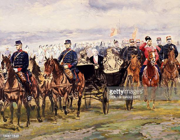 Tsar Nicholas II and French President Felix Faure inspecting the troops at Chalon sur Maune October 9 detail from a watercolour by Edouard Detaille...