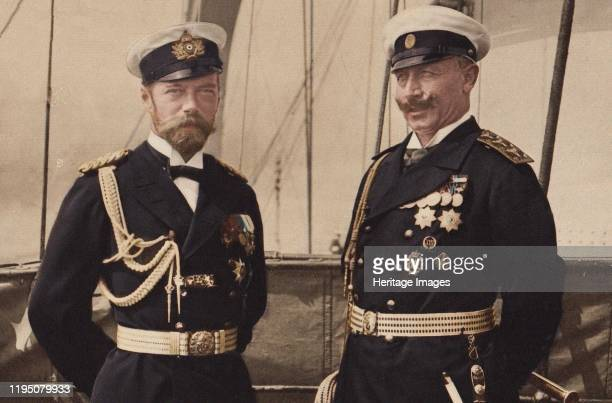 Tsar Nicholas II and Kaiser Wilhelm II in Björkö, 1905. Private Collection. Artist Anonymous.
