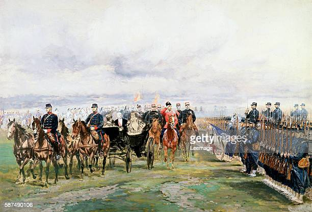 Tsar Nicholas II of Russia and French President Felix Faure inspecting troops in ChalonsurMarne October 9 by Edouard Detaille watercolor and tempera...