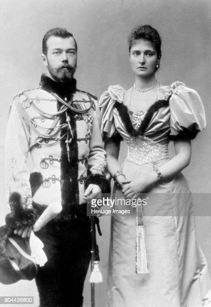 Tsar Nicholas II of Russia and Princess Alix of Hesse c1894 Nicholas II became Tsar after his father Alexander III died on 1st November 1894 Nicholas...