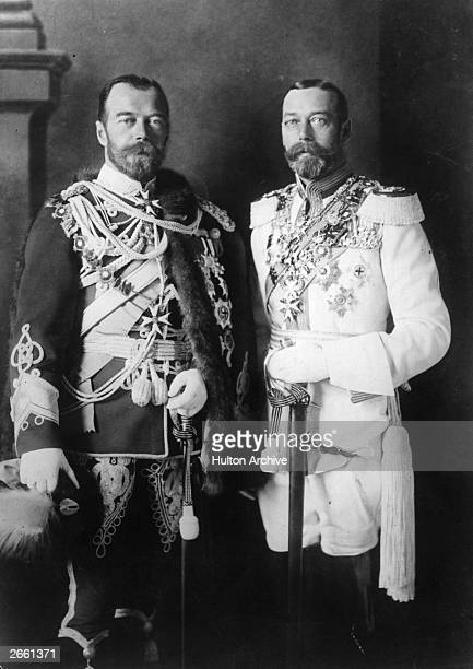 Tsar Nicholas II of Russia with King George V of England both in full military regalia