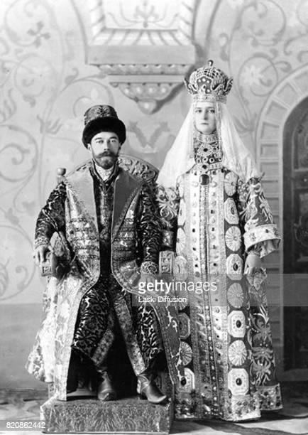 Tsar Nicholas II Romanov and Empress Alexandra Feodorovna Romanova in historical costumes Russia 1903