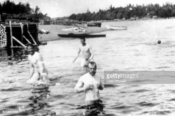 Tsar Nicholas II Romanov bathing in a lake Russia circa 1915