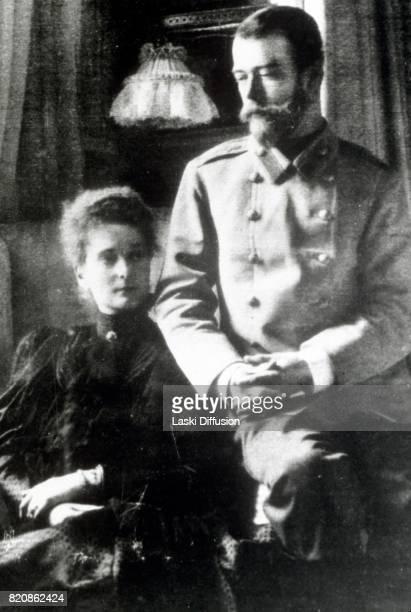 Circa 1900: Tsar Nicholas II Romanov of Russia and Empress Alexandra Feodorovna Romanova. Russia, circa 1900.
