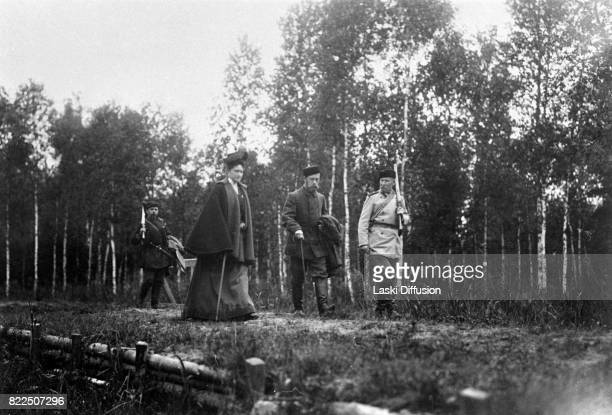 Tsar Nicholas II Romanov of Russia and Empress Alexandra Feodorovna Romanova during a hunting expedition in the Bialowieza Forest Russian Empire 1897