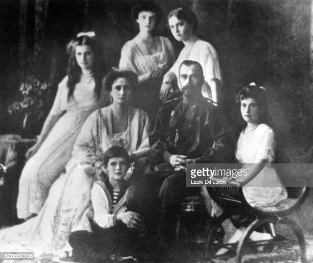 Tsar Nicholas II Romanov of Russia Empress Alexandra Feodorovna Romanova and their children Grand Duchesses Maria Tatiana Olga Anastasia and...