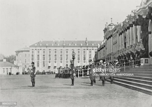 Tsar Nicholas II waiting for Victor Emmanuel III at the Palace of Tsarskoe Selo in St Petersburg Russia July 15 photo by Leon Bouet from...