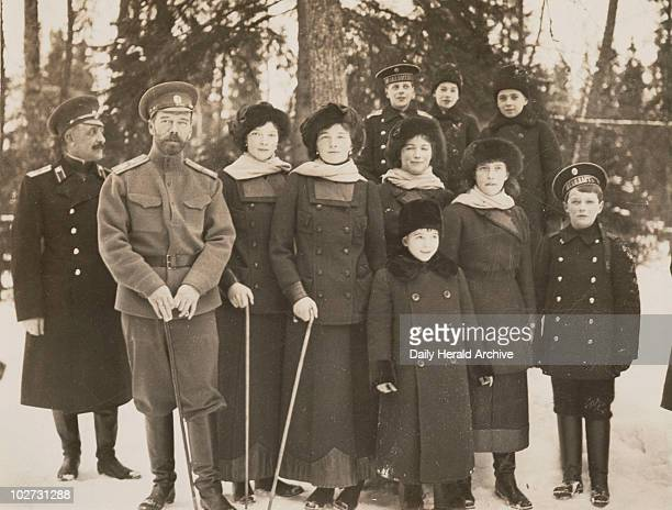 Tsar Nicholas II with his children and nephews Russia 1915 Portrait of the royal family in the private grounds of the Tsar's palace at Tsarskoye Selo...