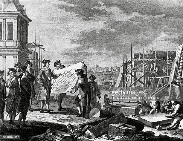 Tsar Peter I the Great founding the city of Petersburg engraving Russia 18th century