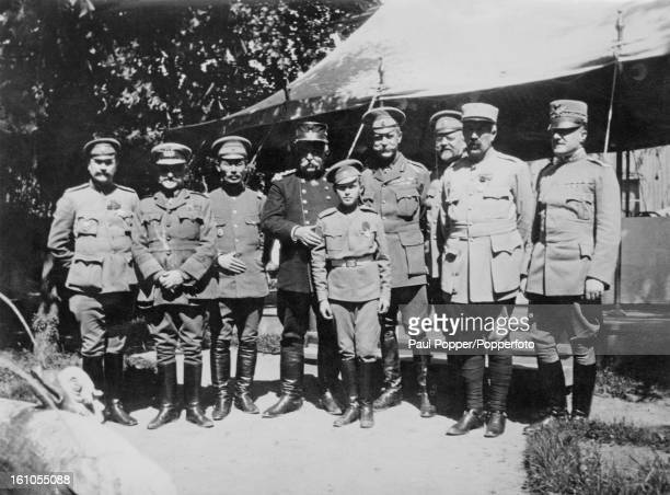 Tsarevich Alexei Nikolaevich of Russia with a group of officers during World War I circa 1916 The young Tsarevich is the son of Tsar Nicholas II of...