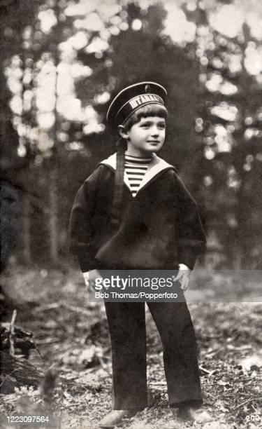 Tsarevich Alexei, the only son of Tsar Nicholas II and Tsarina Alexandra, wearing a sailor suit, in Russia circa 1909.