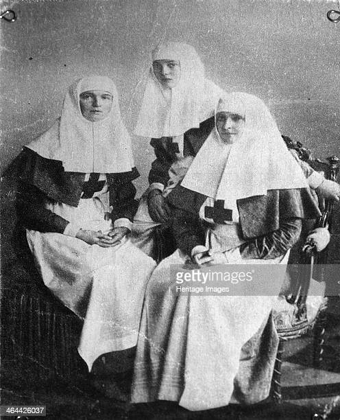 Tsarina Alexandra and Grand Duchesses Olga and Tatiana of Russia 1914 Tsarina Alexandra Fyodorovna with her daughters Olga Nikolaevna and Tatiana...