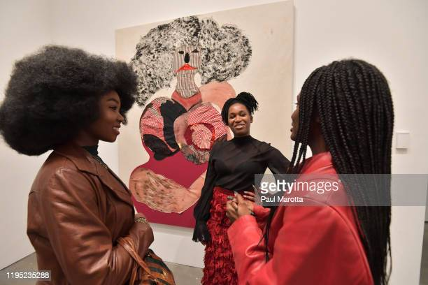 Tschabalala Self and guests attend the Boston ICA Opening Reception sponsored by Max Mara at ICA Boston on January 21, 2020 in Boston, Massachusetts.