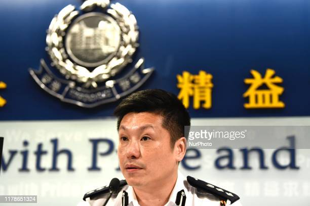 Tse ChunChung Chief Superintendent of Police Public Relations Branch during a Police Press Conference in Hong Kong China October 28 Journalist today...