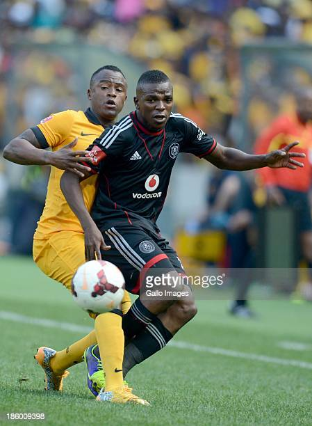 Tsepo Masilela of Chiefs and Khethokwakhe Masuku of Pirates during the Absa Premiership match between Orlando Pirates and Kaizer Chiefs at FNB...