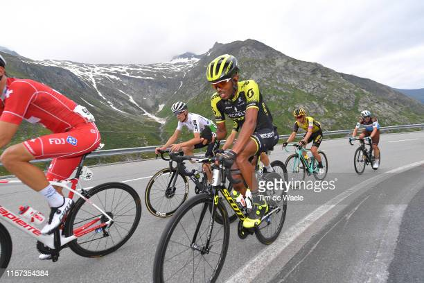 Tsgabu Gebremaryam Grmay of Ethiopia and Team Mitchelton - Scott / Gino Mader of Switzerland and Team Dimension Data / Koen Bouwman of The...