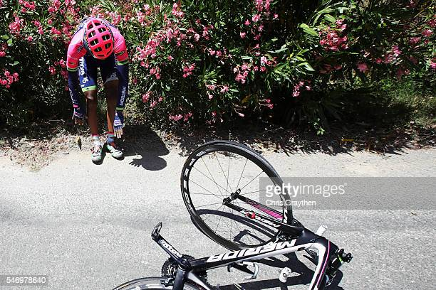 Tsgabu Gebremaryam Grmay of Ethiopia riding for Lampre Merida climbs out of the bushes after crashing on stage eleven of the 2016 Le Tour de France,...