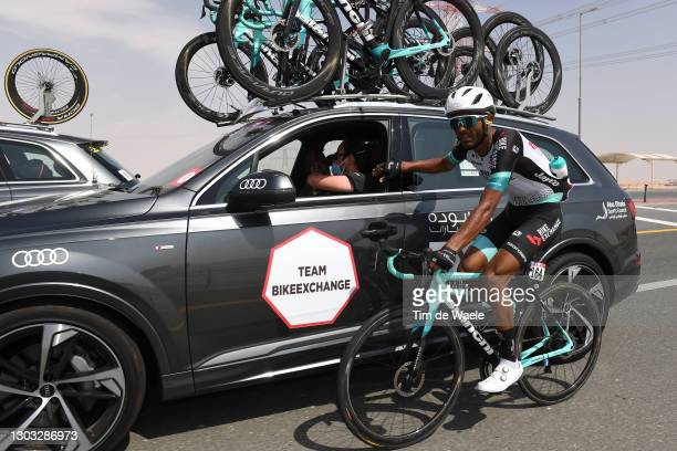 Tsgabu Grmay of Ethiopia and Team BikeExchange during the 3rd UAE Tour 2021, Stage 1 a 176km stage from Al Dhafra Castle to Al Mirfa / Feeding / Car...