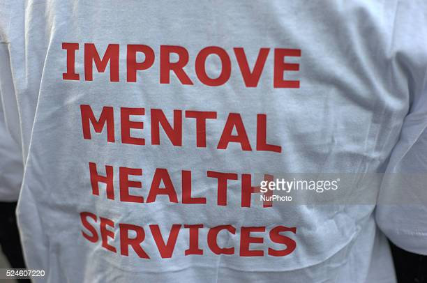 A tshirt as worn by a member of the picket line campaigning for the improvement of mental health services within the National Health Service