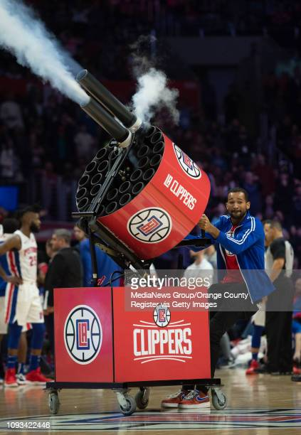 A tshirt cannon is fired during a break in the LA Clippers game against the Detroit Pistons at Staples Center in Los Angeles on Saturday January 12...