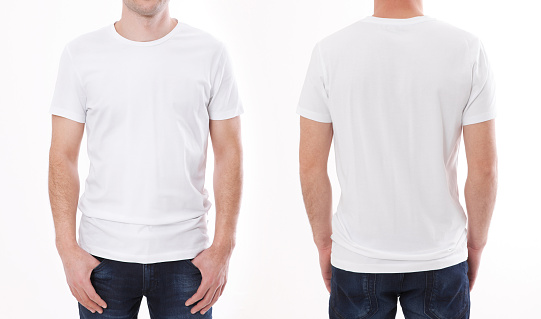 t-shirt design and people concept - close up of young man in blank white t-shirt, shirt front and rear isolated. 1138400603