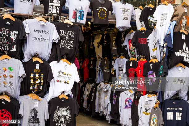 T-Shirt display on Covent Garden market stall, London, UK