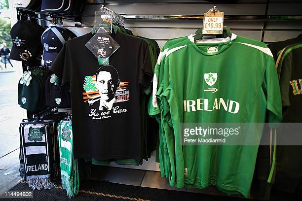 A tshirt picturing President Barack Obama is displayed for sale on May 22 2011 in Dublin Ireland US President Barack Obama is visiting Ireland...