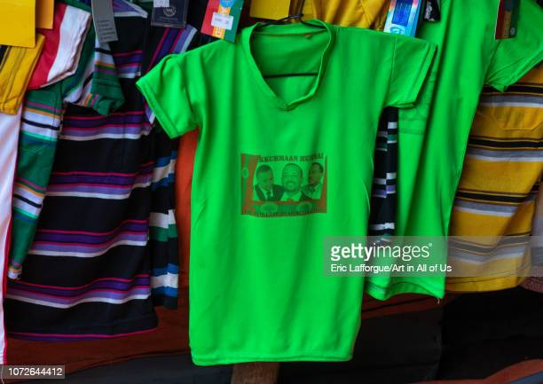 Tshirt sold in a shop with the picture of ethiopian prime minister abiy ahmed Oromia Hirna Ethiopia on November 3 2018 in Hirna Ethiopia