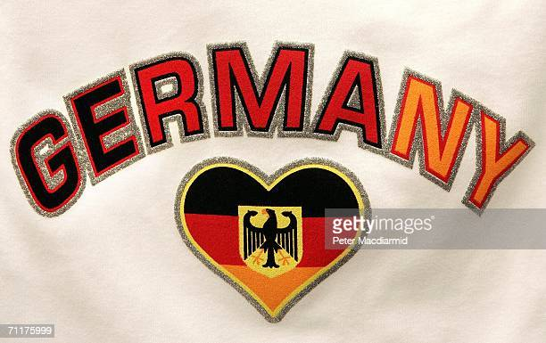 A tshirt with a heart shaped German flag is displayed for sale on June 11 2006 in Frankfurt Germany On the third day of the FIFA World Cup three...