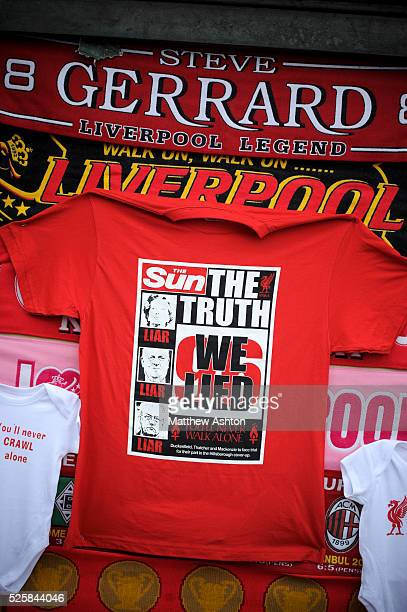 A Tshirt with a mock up of the front page of The Sun newspaper at Anfield Stadium in memory of the 96 fans who lost their lives at the FA Cup...