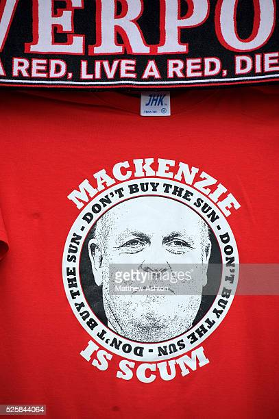 A Tshirt with a mock up of the front page of The Sun newspaper with the face of then Editor Kelvin MacKenzie at Anfield Stadium in memory of the 96...