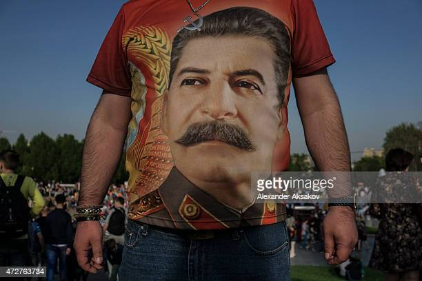 A tshirt with a print of Stalin during celebrations marking the 70th anniversary of the victory over Nazi Germany and the end of World War II on May...