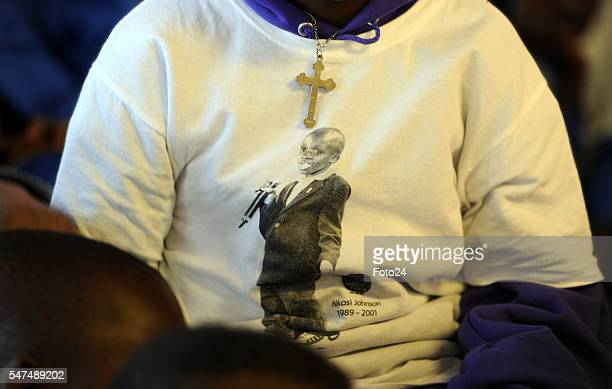 A tshirt with Nkosi Johnsons picture during a visit at Nkosis Haven on July 13 2016 in Johannesburg South Africa Deputy President Cyril Ramaphosa...