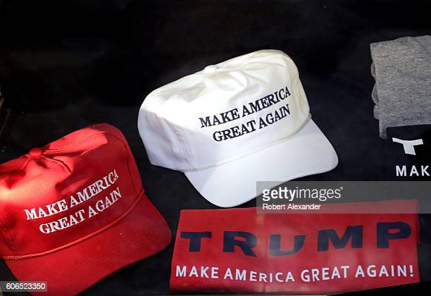 Tshirts and hats printed and embroidered with Donald Trump's presidental campaign slogan 'Make American Great Again' for sale in the gift shop inside...