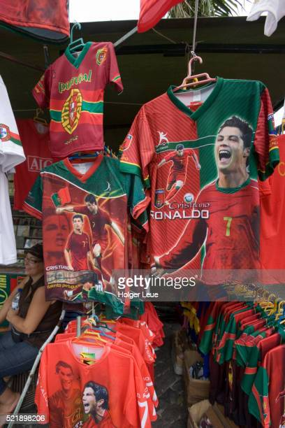 t-shirts and jerseys featuring madeira-born football star cristiano ronaldo - cristiano ronaldo soccer player stock pictures, royalty-free photos & images