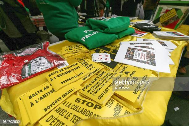 Tshirts and stickers in support of Palestine during a demonstration on March 19 in front of the court of Versailles near Paris in support of French...