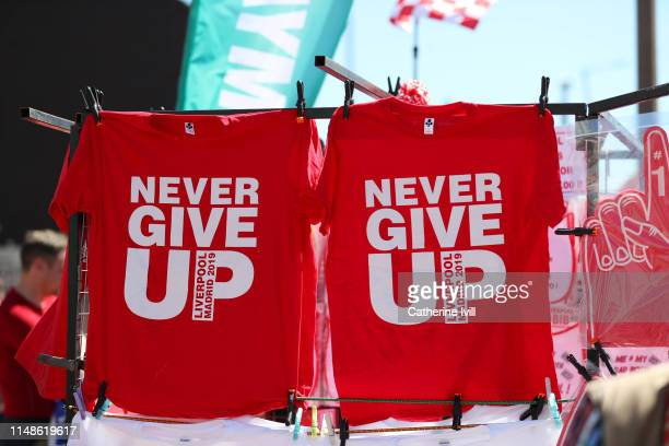 Tshirts are seen for sale outside the stadium prior to the Premier League match between Liverpool FC and Wolverhampton Wanderers at Anfield on May 12...