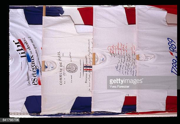 Tshirts are sold during the Bicentennial of the French Revolution