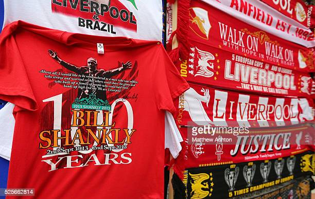 Tshirts celebrating exLiverpool manager Bill Shankly regarded as one of football's greatest managers for sale outside Anfield Stadium home of...
