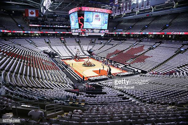 Tshirts cover the seats in the AirCanada Centre in a Maple Leaf pattern as the Toronto Raptors play the Miami Heat in game one of the NBA Conference...
