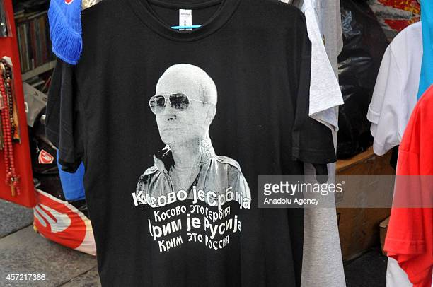 Tshirts depicting Russian President Vladimir Putin for the upcoming visit of him to Serbia on October 16 are on sale in Belgrade Serbia on October 14...