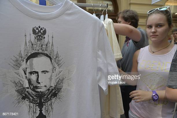 Shirts depicting Russian President Vladimir Putin, on sale at the GUM shopping mall in Kitai-gorod, Moscow, Russian Federation, 12th August 2014....
