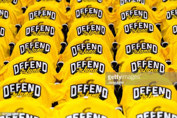 Tshirts fill the stands prior to Game One of the NBA Eastern Conference semifinals between the Cleveland Cavaliers and the Toronto Raptors at Quicken...
