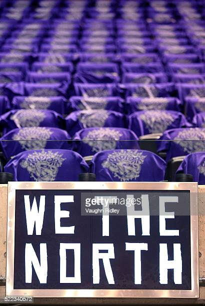Tshirts for fans are displayed on seats prior to Game Two of the Eastern Conference Quarterfinal game between the Indiana Pacers and the Toronto...