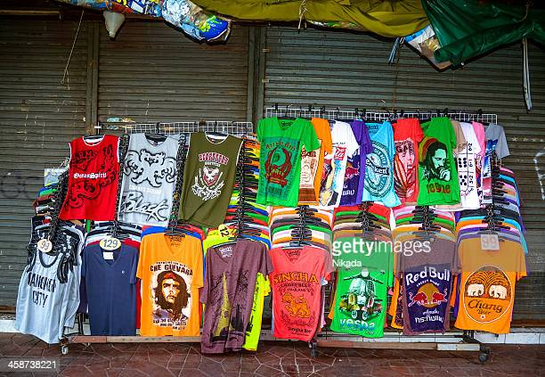 t-shirts for sale in bangkok - graphic t shirt stock pictures, royalty-free photos & images