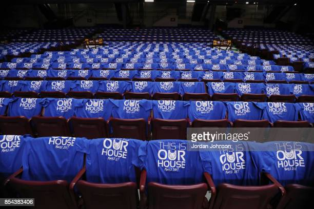 Tshirts for the fans are displayed on the seats before the game between the Los Angeles Sparks and the Minnesota Lynx in Game Two of the 2017 WNBA...
