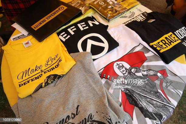 Tshirts lie on display at a stand of a Czech branch of the Identitarian Movement at a gathering entitled Europa Nostra and hosted by the Identitarian...